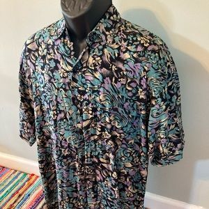 90s Floral All Over Print Button Shirt Blue Medium